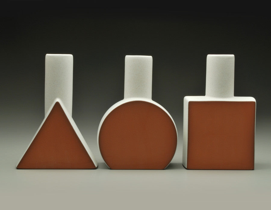 Geometric Form Vases in white