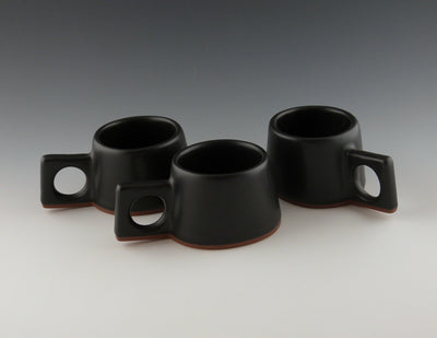 Three black Espresso Cups