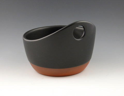 Handled Soup Bowl, black