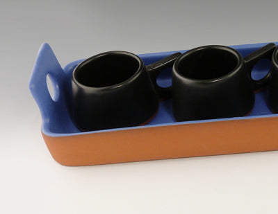 Small Rectangular Tray copen blue with espresso cups close up