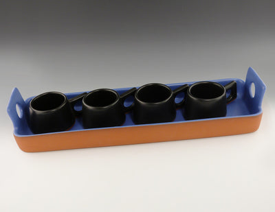 Small Rectangular Tray copen blue with espresso cups