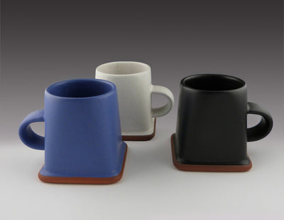 Square Cups blue, white, black