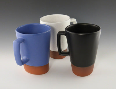 Tall Oval Cup copen blue, white, black