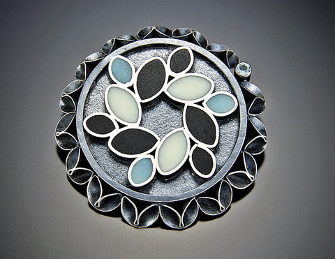 Folded Leaf Blue and White Resin Brooch With Topaz