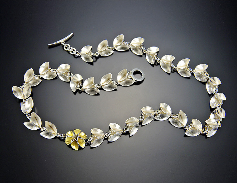 Folded Leaf with One Gold Flower Necklace