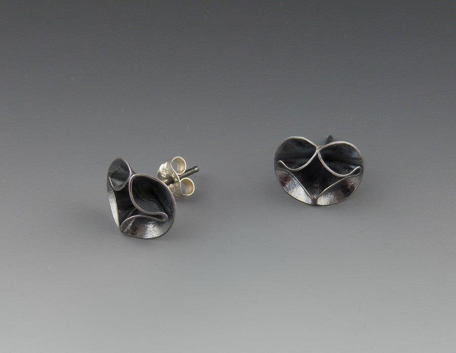 Double Leaf Small Stud Earrings oxidized