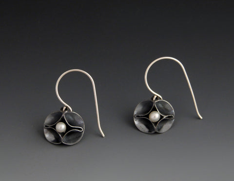 Double Leaf Short Dangle Earrings with Pearls oxidized