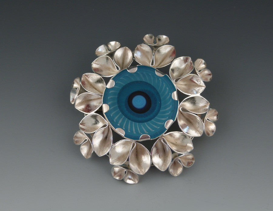 Folded Leaf Brooch with Handblown Glass