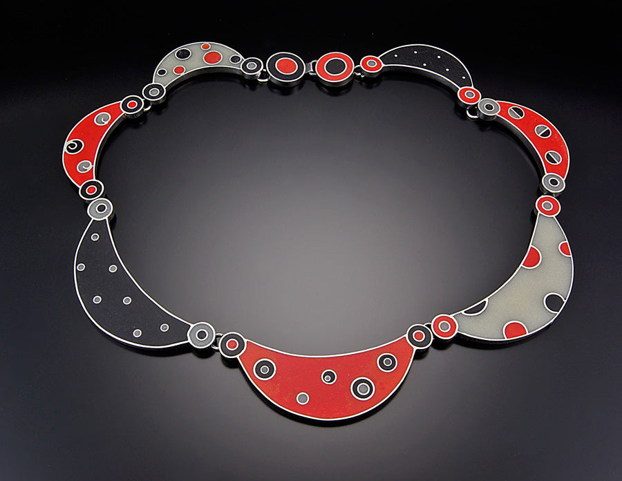 Red Black and Grey Resin Neckpiece