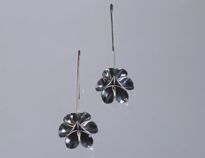 Flower Wire Drop Earrings-Oxidized