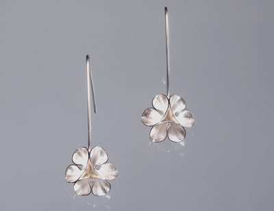 Flower Wire Drop Earrings-Bright