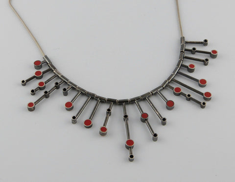 Red Resin Bar Necklace
