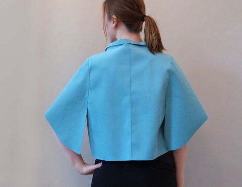Fang Short Jacket turquoise on model back view