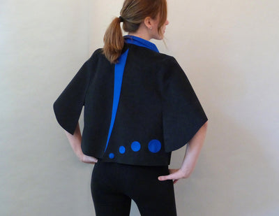 Killer B Jacket, jazz blue, on model back detail view