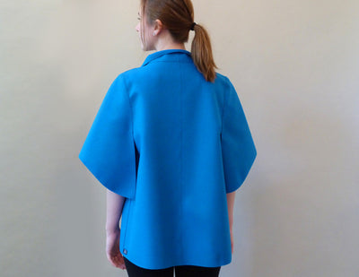 Peel Jacket, blue, on model back view
