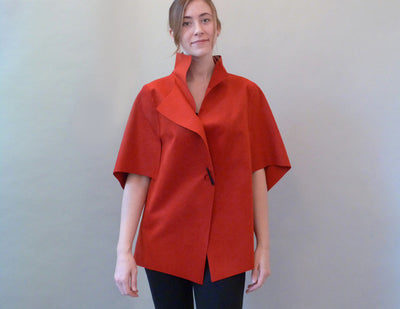 Slice Jacket, red, on model, clasped