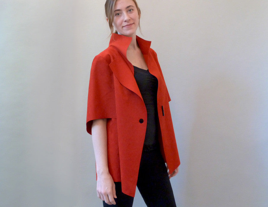 Slice Jacket, red, on model