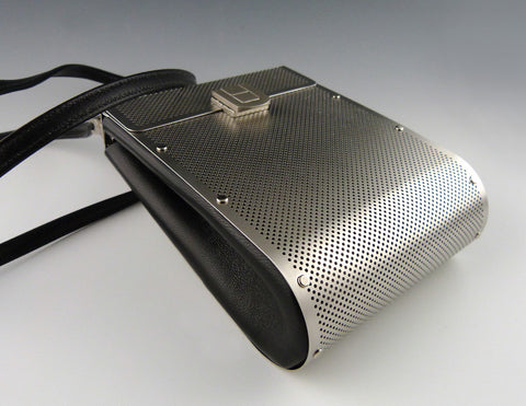 Drop Bag, stainless, black leather bottom view