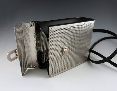 Drop Bag, stainless, black leather, open view