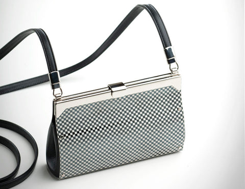 Piccolo Purse embossed black check, black leather
