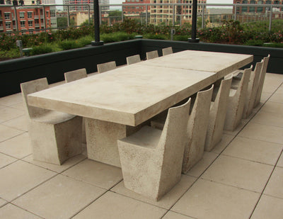 Stone Dining chairs with Slab Dining table