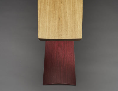 Bogen table end view, purple heart base, white oak top