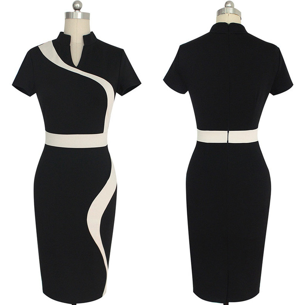 Contrast Black Work Dress