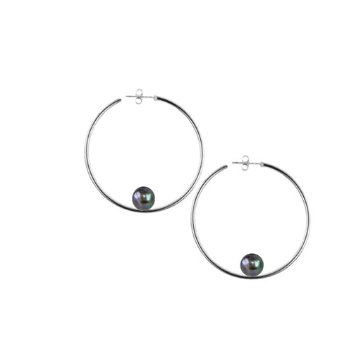 Silver Round Hoops With Black Pearls