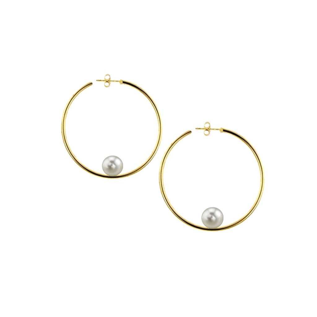 Gold Round Hoops With White Pearls