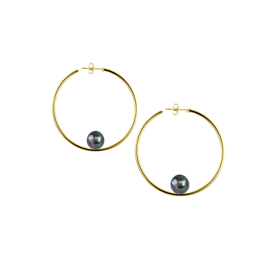 Gold Round Hoops With Black Pearls