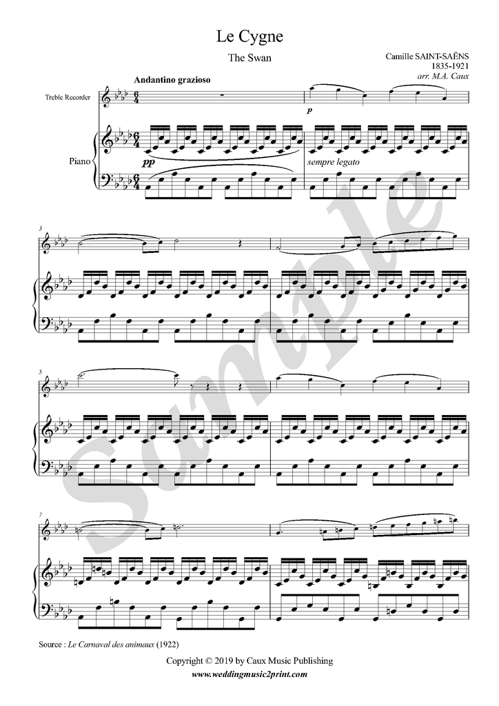 Saint-Saëns - Le Cygne (The Swan) - Weddingmusic2print