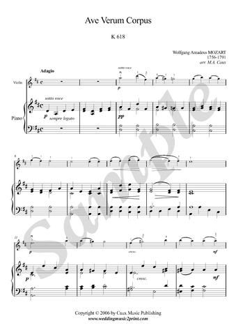 W.A. Mozart, Ave Verum Corpus, violin and piano sheet music