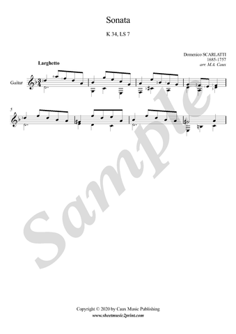 D. Scarlatti, Sonata in D minor, K 34, LS 7, Guitar sheet music