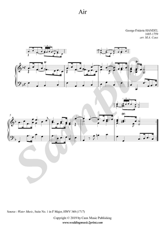 Handel, Air in F Major from Water Music, piano sheet music