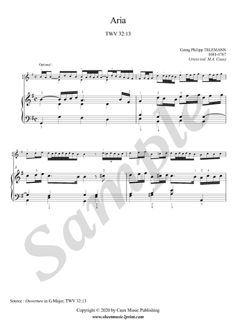 G.P. Telemann, Aria in G Major, TWV 32:13, Piano sheet music