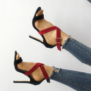 Sexy Colorblock Buckle With Suede High Heels Sandals