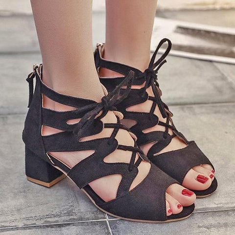 Plain  Chunky  Mid Heeled  Velvet  Criss Cross  Peep Toe  Date Office Sandals
