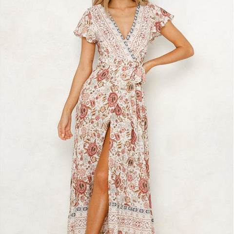 Women's Vacation V Leads In A Slit Print Vacation Dress