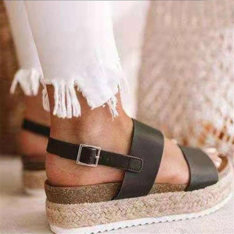 Fashion Linen   Woven Platform Sandals
