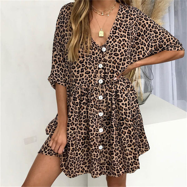 2019 Summer Print Leopard V-Neck Button Pocket Mini Dress