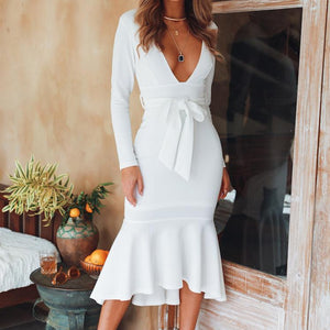 Casual V Neck Long Sleeve Pure Colour Dress