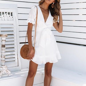 Sexy V Neck Short Sleeve Pure Colour Belted Dress