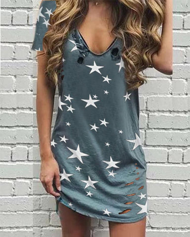 Casual V Neck Short Sleeve Printed Colour Dress