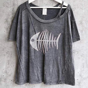 Round-Collar Short-Sleeve Printing Exposed Navel Loose T-Shirt