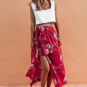 Sleeveless Vest Slits Printed Skirt Set