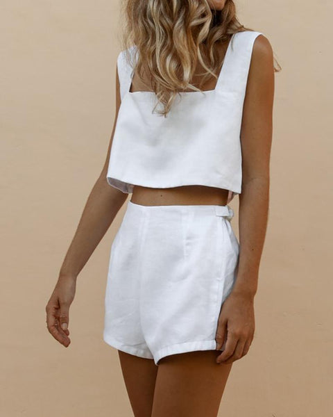 Square Collar Umbilical Vest & Shorts Suit