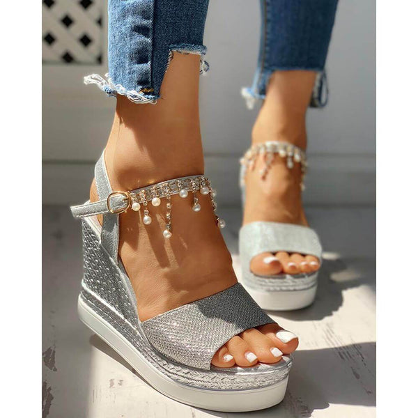 Fashion versatile casual beaded wedge sandals