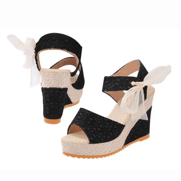 Fashion Casual Lace Bow Wedge Sandals