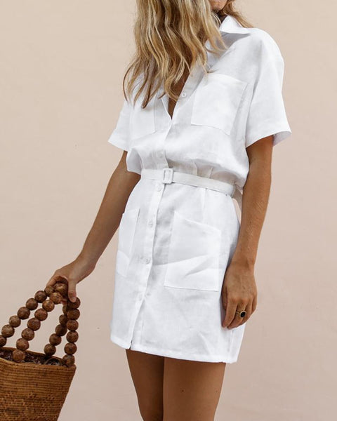 H-Shaped Belt Elegant Shirt Dress