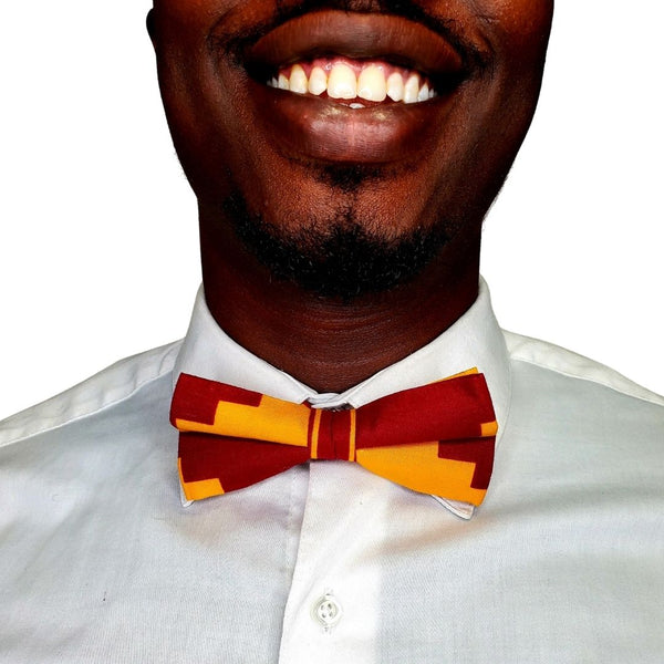 Kente Clothe Red & Gold Pre-Tied Bow Tie